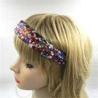 China Sequin Bow Hair Bands Unique Headband Bow Ladies Wide 3.2cm on sale