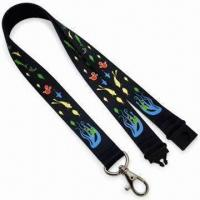 Quality 2.0cm Sublimation Safety Lanyards with Black Plastic Safety Lock and Zinc-alloy Hook for sale