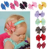 Quality Babys Headband Hairband Elastic Wave Point Bowknot Photography for sale