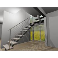 Buy cheap Stainless steel center stringer straight solid wood staircase with glass balustrade from wholesalers