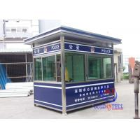 China Color Steel Prafab Mobile Sentry Box For Police Working Desk , Electricity , Light on sale