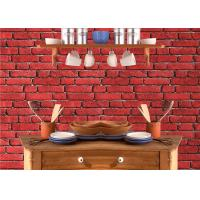 Quality Vintage Removable 3D Brick Effect Wallpaper , Foam Faux Brick Wall Covering Washable for sale