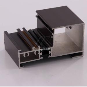 China Wood Grain Aluminum Extrusion Profiles , Aluminium Door FrameT5 High Precision on sale