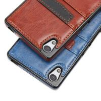 Quality Brown Classic Sony Xperia Leather Case Slim Card Holder With Wallet Function for sale