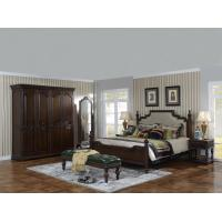 Quality Sandalwood Bedroom set Classic style BT-2902 High fabric Upholstered headboard Wooden king size bed with Cloth Wardrobe for sale