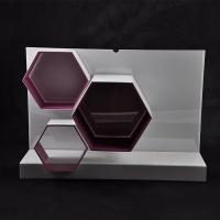 Quality White / Red Makeup Acrylic Display Stand 570×162×390 mm With Hexagon Shape for sale