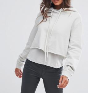 Quality Fashionable 100% Cotton Plus Size Ladies Shirts Crop Hoodies Plain Dyed for sale
