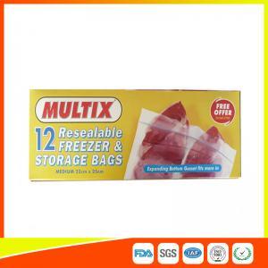 Quality Supermarket Plastic Freezer Zip Lock Bags / Zip Seal Food Freezer Bags for sale