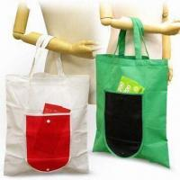 Quality Foldable Shopping Bags, Made 80g/m² Nonwoven Materials, Green Product for sale