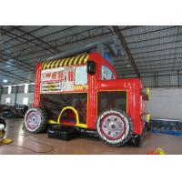 Quality Rentals Firetruck Kids Inflatable Bounce House 6 X 4m For 3 - 15 Years Old Children for sale