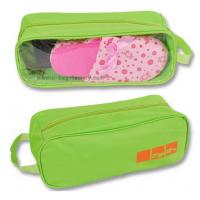 Quality 600D Polyester Shoe Storage Travel Bag Slippers Packaging With Transparent PVC Window for sale