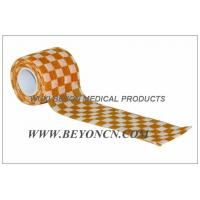 Quality Cohesive Elastic Bandage Self - Adhesive Wrap Orange Check  Custom Printed for sale