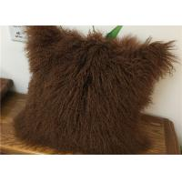 Quality Customized Color / Size Mongolian Sheepskin Decorative Throw Pillow 10-15cm Wool for sale