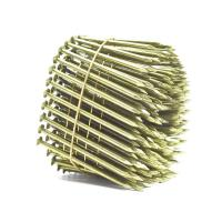 Quality Yellow Coated Galvanized Coil Nails Q235 Material For Wood Pallet 15 Degree for sale
