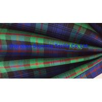 Quality Green Blue Plaid Yarn Dyed Uniform Fabric Stretch Polyester Twill / Drill for Men's Lady's for sale