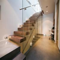Quality Build Floating Stair with glass wall for sale