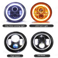 Quality High Lumen Round Jeep Wrangler Headlights With Halo Ring Angel Eyes for sale