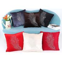 Buy cheap Custom Logo 3 Colors Soft Velvet Cushion Cover With Diamond Square Pillowcase from wholesalers