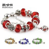 Quality Colorful Crystal European Beads with Red Murano Glass Beads fit pandora crown Chain Charms Bracelet for sale
