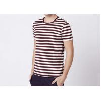 Quality Three Colors 100% Cotton Striped T Shirt Mens Short Sleeve Comfortable Fabric for sale