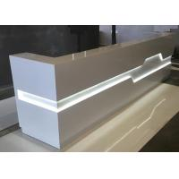 White Matt Color Retail Checkout Counter With LED Light Inside OEM / ODM Service for sale