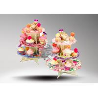 Buy 3 Tier Cardboard Cup Cake Stand / Colorful Cake Stand Promotional For Cake Chain Store at wholesale prices