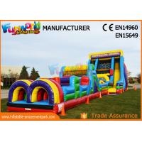 Quality Vertical Rush Inflatables Obstacle Course , 0.55mm PVC Tarpaulin Commercial Blow Up Slide for sale