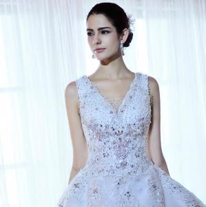 China Luxury Beaded Rhinestone wedding dresses , women tulle puffy wedding dresses on sale