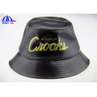 Quality Custom Black Printed Bucket Hats and Caps with 100% Polyester PU Fabric for sale