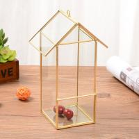 Golden House-Shaped Glass Geometric Terrarium for Gifts/Decoration/Flowerpot for sale