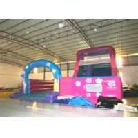 Quality Disney princess pink inflatable wide slide with jump area inflatable big dry slide bounce house for sale