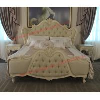 Quality Exquisite Fabric Padding Headboard with Solid Wood Bed in Ivory White Painting for sale