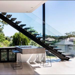 Buy cheap Steel stringer staircase,mono stringer staircase, wood straight staircase from wholesalers