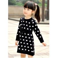 Quality Polka Dots Jacquard Knit Little Girls Winter Dresses Full Sleeve 4 Year Old Girl Clothes for sale