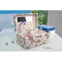 Quality Pink Fabric Jewelry Box L25*W16*H13CM , Watch Storage Box With Lock And Mirror for sale