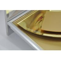 Buy Skin Care Product Advertisement Display Stands Deluxe Golden Mirror Surface Treatment at wholesale prices