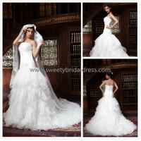 Quality Aline Strapless Beading Zipper Lace and Organza Wedding Dress ZX002 for sale