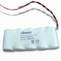 China Emergency Light NiCd Battery Pack with 6V/1,800mAh and 70°C High Temperature, No Memory Effects on sale