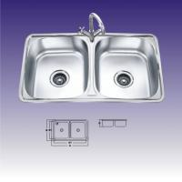 Quality Double Rectangular Bowl Undermount Stainless Steel Kitchen Sinks With Faucet for sale
