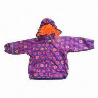 Quality Children's Raincoat with PU Fabric, All Over print and Fleece Lining for sale
