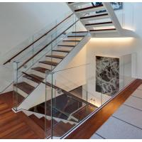 Buy cheap Modern aluminum U channel 12mm tempered glass railing wood handrail interior from wholesalers