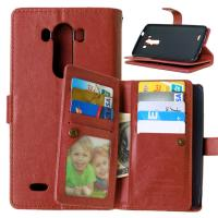 LG G2 G3 G4 Stylus G4S G5 Wallet Case Retro Leather Cover Bags Pouch 9 Cards Slot Holder