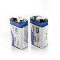 Quality 600 Mah 9v Lithium Ion Rechargeable Cell Batteries Deep Cycle For Smoke Detectors for sale