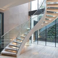Quality Interior solid wooden curved staircase with customized size design for sale