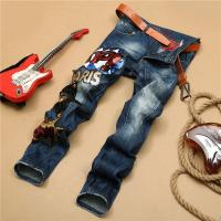 Gothic Motor Biker Mens Tapered Jeans , Slim Punk Tattoo Rock And Roll Jeans