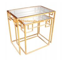 Quality New design tempered glass top with metal powder coated frame coffee table nesting table for sale