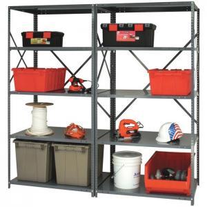 Quality 20 Gauge Steel Industrial Shelving Racks , 5 Shelf Metal Storage Rack for sale
