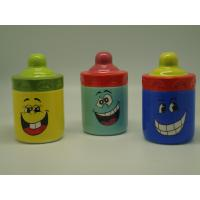 Quality Smiling Face Porcelain Childrens Piggy Bank Feeding Bottle Shaped 10 X 10  X 16 Cm for sale