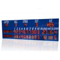 Quality Professional LED Baseball Scoreboard With Blue Frame Cabinet 1400mm*3800mm*100mm for sale