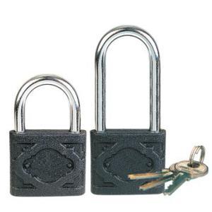 Quality Black Cast Iron Steel Security Door Locks / Long Shackle Padlock With Three Keys for sale